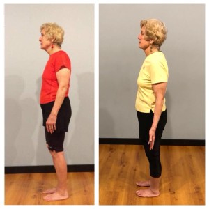 Posture comparison session 1 to session 5 without the wall